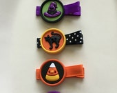 Halloween Button Hair Clips- Pumpkin, Witch Hat, Black Cat, Candy Corn, Scary Ghost (set of 5 clips)