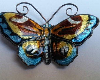 Large David Andersen butterfly brooch enameled sterling silver