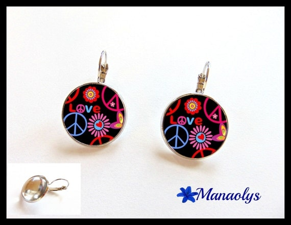 Dangle earrings peace and love, multicolored on black background, glass cabochons