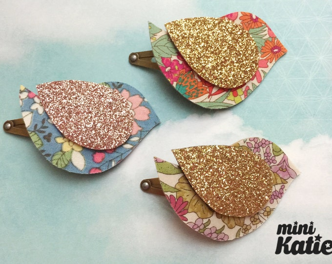 mini Katie Liberty style mini Bird Hair Barrette Hair clip Adorable Glitter baby hair clips