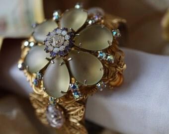 Floral & Fire Embellished Cuff Bracelet