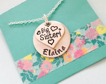 Big Sister Necklace, Big Sister Gift, Personalized Big Sister Necklace, New Sibling