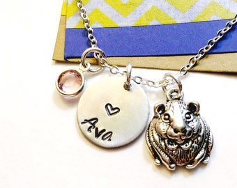 Hamster Necklace, Pet Hamster Necklace , Guinea Pig Necklace, Charm Necklace, Pet Necklace,  Personalized Name Necklace