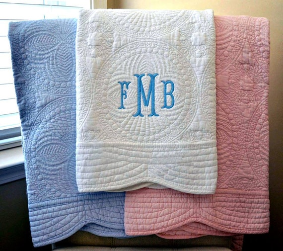 Quilted Baby Blanket Monogrammed Baby Quilt By