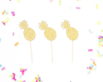 12 Pineapple Cupcake Toppers Picks - Gold Glitter or Any Color - Luau Tiki Party Decor & Supplies