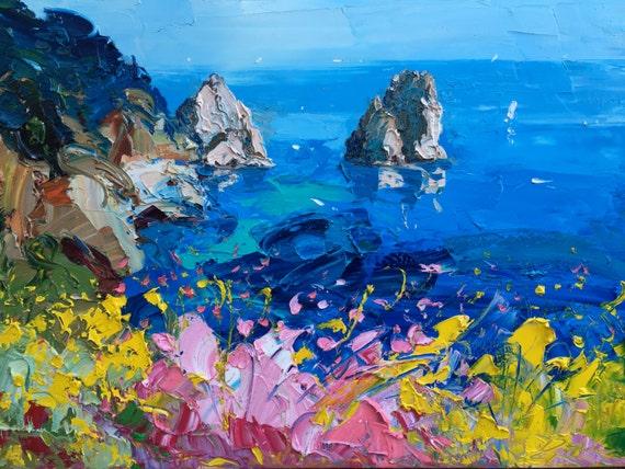 Romantic Capri Painting On Canvas Original By Agostinoveroni