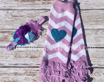 Purple chevron Leg Warmers And Headband. | Leg Warmer Set | Boutique Headband Teal And Purple | Ruffled Baby Leggings | Toddler | Baby Girl