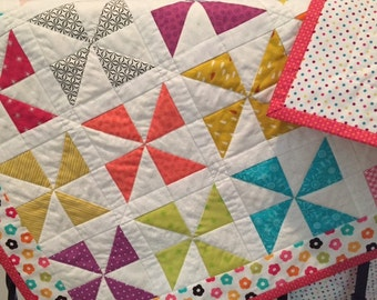 Baby Quilt, Lap Quilt, Crib Quilt, Girl's Quilt, Colorful Quilt, Quiltsy Handmade