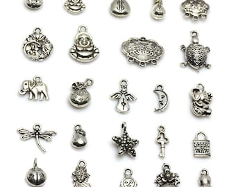 20pcs DIY Tibet Silver Buddha/Animals/Lock Pendants Wholesale-WEN18505125851-CLR