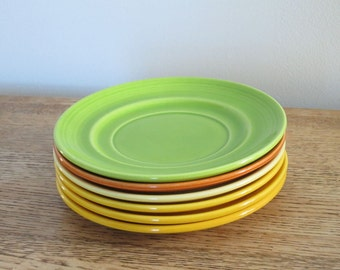 Set of six vintage Metlox Colorstax saucers. Hand crafted in California, USA.