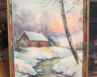 Vintage Framed Print of Cabin in Snow By William Thompson Where Shelter Awaits