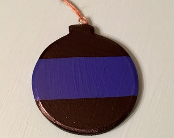Thin blue line wooden ornament; law enforcement Christmas ornament; LEOW; LEO family Christmas ornament; Police / deputy holiday ornament