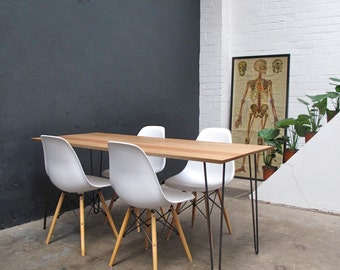 Industrial Reclaimed Solid Oak Hairpin Leg Dining Table. 6-8 Seater. Hand crafted. IN STOCK