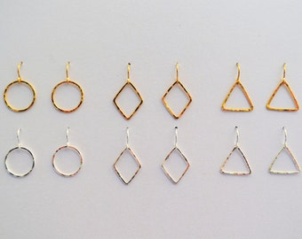 Hammered Gold-Filled or Sterling Silver Circle, Diamond, or Triangle Earrings