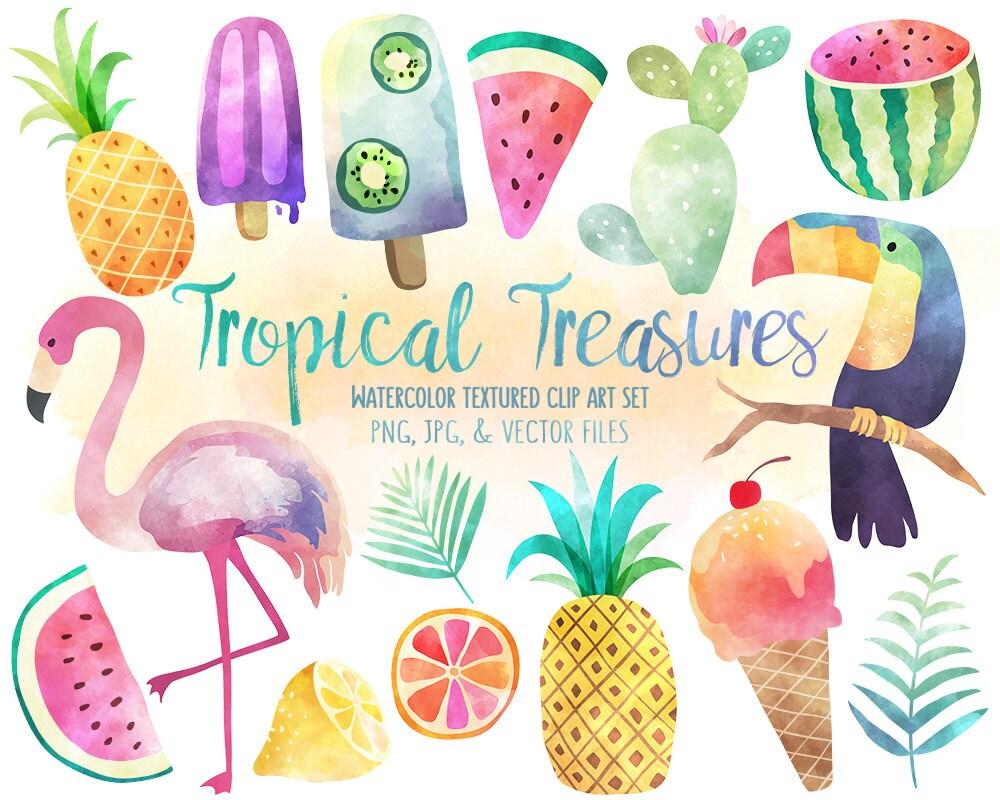 Tropical Clip Art - Watercolor Summer Clipart Set, Vector ...