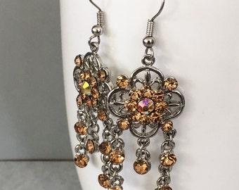 November birthstone earrings, Topaz birthstone earrings, yellow dangle earrings, yellow earrings, yellow chandelier earrings
