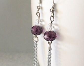 Purple dangle earrings, purple chain earrings, purple earrings, purple bead earrings, beaded earrings