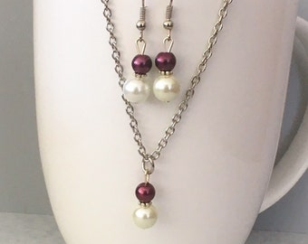 Burgandy bridesmaid necklace set, Burgandy necklace set, burgandy bridesmaid jewelry, burgandy necklace, pearl necklace