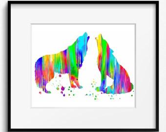Wolves Watercolor Art Print (160)