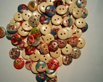 20 Wooden Round Christmas Buttons - #C-00044
