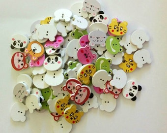 12 Mixed Wooden Animal Faces Buttons - Quilting Buttons - Sewing Buttons - Embellishments - #SB-00171