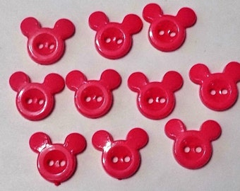 10 Plastic Mouse Head Buttons - #PB-00016