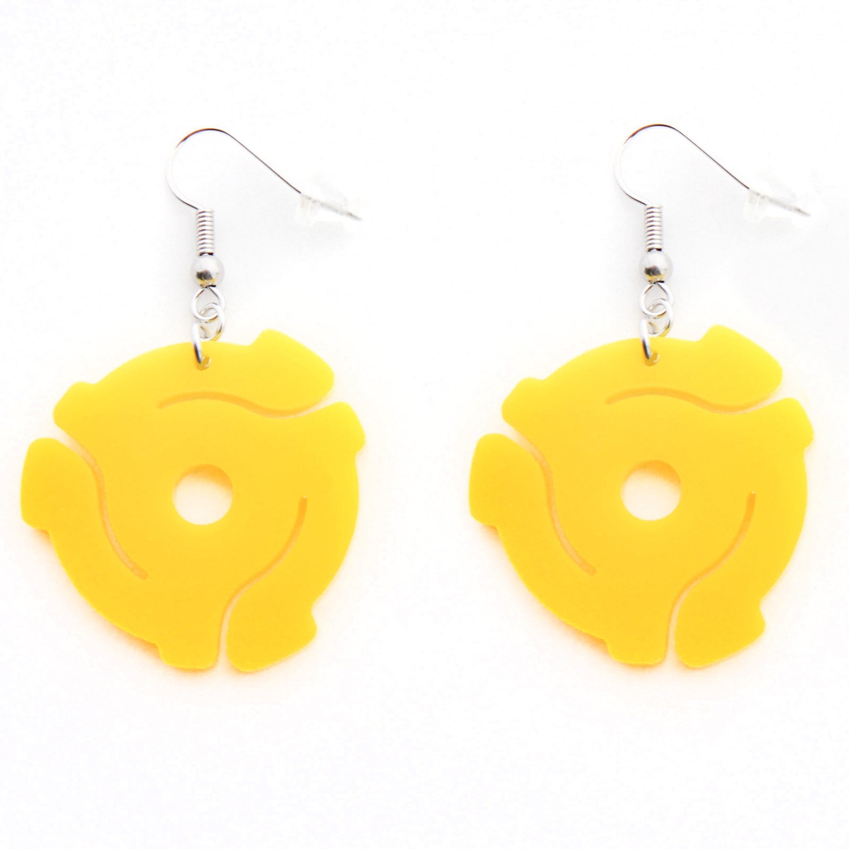 yellow acrylic 45 record spacer dangle hook earrings