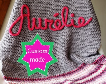 Baby name blanket personalized crochet. Custom made afghan for newborn. One of a kind, choose own colors and size. What's your name blanket