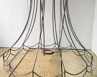 Vintage lampshade wireframe. Large lamp shade. Wire frame.