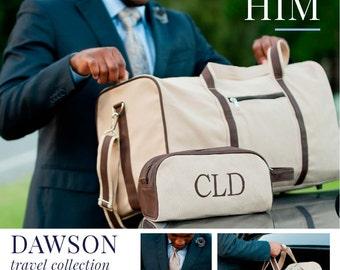 Dawson Collection, Dawson Duffel Bag and Toiletry Bag, Monogrammed Duffel Bag, Men's Duffel Bag, Men's Toiletry Bag