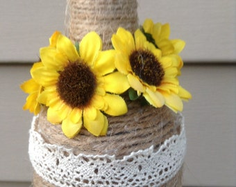 Sunflower Wine Bottle Vase