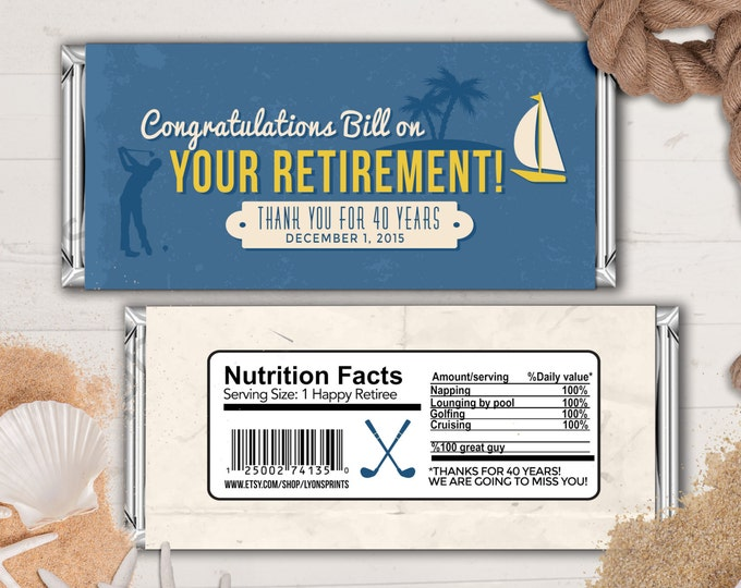 Retirement Candy Bar Wrapper, Printable Digital File,Candy Bar, golf, golfing, sailing, retirement party, party favor, gift, thank you