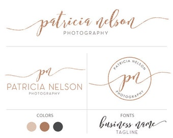 Rose gold logo kit premade logo package photography logo glitter logo calligraphy logo
