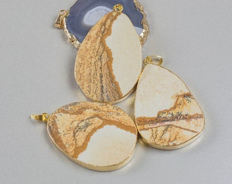 Picture Jasper Oval Pendants Gold Bezzle 1.75 Inches Long.