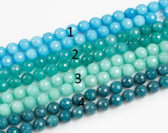 JADE Faceted Round 8mm Teal