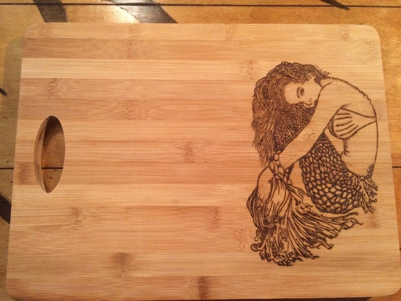 Large Cutting Board Wood Burned With A Gorgeous Mermaid