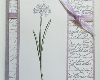 Birthday Card, Handmade Card, Flower Card, Purple Card