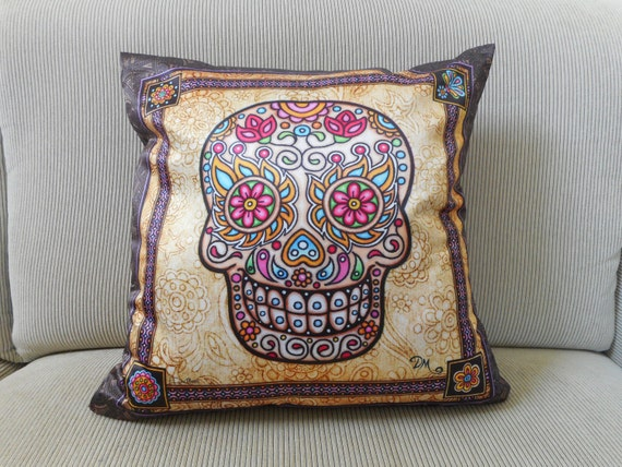 Accent Pillow, Decorative Pillow, Sugar Skull Art, 18&quot;x18, Dan Morris, ,Day of the Dead								<a href=