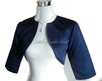 Navy/Dark Blue Satin Bolero Fully Lined - UK 4-26/US 1-22 Shrug/Cropped Jacket/Wrap/Shawl/Stole/Tippet - Pleated neck