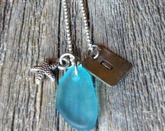 Sea Glass Initial Necklace