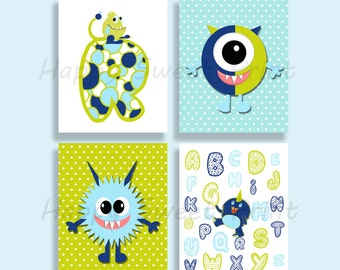 Set of 4 Monster wall art,nursery prints,wall hanging baby boy art,monster crib bedding,blue and lime monsters,baby shower monster alphabet