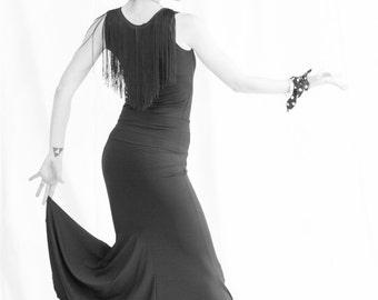 black spandex mermaid flamenco skirt