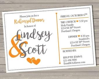 Wedding Rehearsal Dinner Invitation - Printable File
