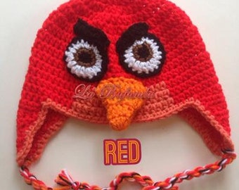 Red- Angry Birds Crochet Red Hat, Kids Earflap Hat, Red Crochet Beanie