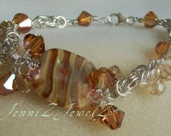 Caramel Swirl Chain Maille Bracelet