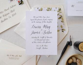 Print-It-Yourself Calligraphy Wedding Invitations, Black and White Wedding Invitations -- Louisa