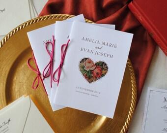 Printable Wedding Programs Custom Ceremony Programs Jewel Tones Red Wedding Elegant Classic -- Amelia