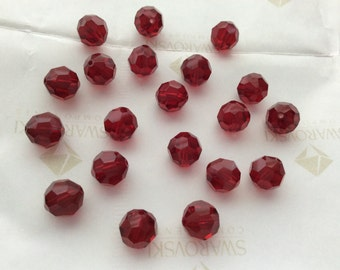 Swarovski #5000 Crystal Siam Red Round Ball Faceted Beads 6mm 8mm