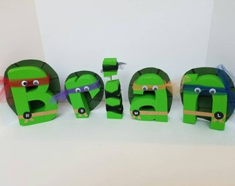 Tmnt wood name letters - teenage mutant ninja turtle letters - wood letters - tmnt letters - tmnt decor - name letters - PRICE PER LETTER