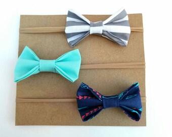Baby girl headbands - set of 3 - nylon headbands - navy arrow bow headband - turquoise bow headband - gray striped bow headband - girly bows